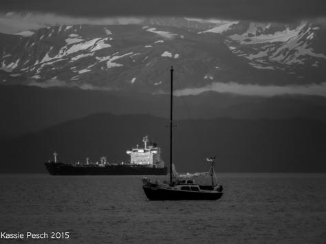 Sailboat, tanker, ship, Homer, Alaska